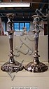 A pair 14 silver plate candlesticks with drip