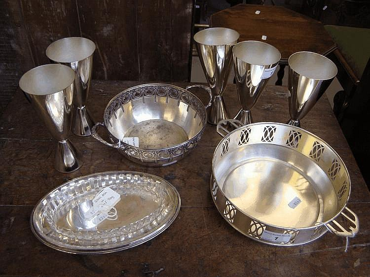 A WMF bowl, WMF tray and glass liner, a Vienna