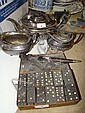 Silver plate tea set, a metal box of dominoes &