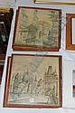 Set of six European city scenes (framed)