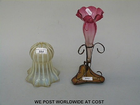 Vaseline glass frilled light shade, cranberry and