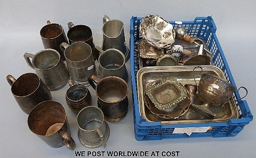 A selection of silver plate and pewter items