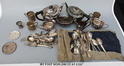 Plated cutlery and tea set etc.