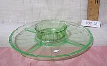 Vaseline Glass Serving Dish