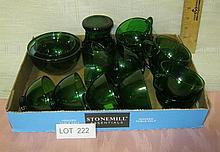 Box Lot of Forest Green Glassware
