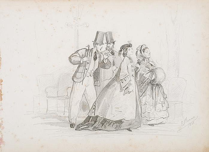 Eusebio Planas (Barcelona, 1833 - 1897) Dibujo a