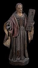 Saint Barbara.  Carved polychrome wooden sculpture.  Baroque.  17th century.