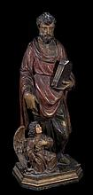 Carved polychrome wooden sculpture.  Baroque.  17th century.