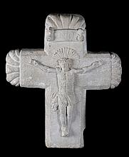 Sculpted stone crucifix.  Circa 1600.