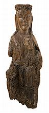 Seated Virgin and Child (Sedes Sapientiae). Carved wooden sculpture.  Romanesque.  13th century.