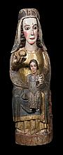 Seated Virgin and Child (Sedes Sapientiae).  Carved gilt and polychrome wooden sculpture.  Romanesque.  Circa 1200.