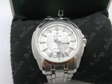 Mens Bulova Precisionist Stainless Steel Quartz Watch with Original Box