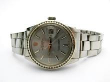 Mens Rolex Date Model 1500 Stainless Steel Watch Aftermarket Diamond Bezel