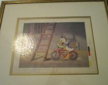 Donald Duck riding on flat tire - framed artwork - 19.5 x 22 inches