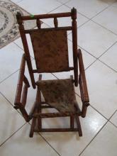 Vintage wooden Rocking Chair - Kids - torn Bottom - 24 inches