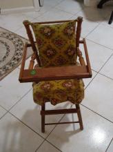 Vintage Hi Chair for Baby Doll - 30 Inches - Mid Century- Wooden