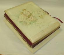 TWO VICTORIAN MUSICAL PHOTO ALBUMS, ONE IS MISSING FEET