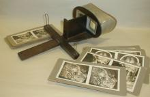 STEREOSCOPE AND NINE AUTOPSY CARDS