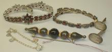 STERLING JEWELRY: TWO CHINESE GARNET BRACELETS, PAIR OF CUFFLINKS, PIN WITH GOLD SPACERS