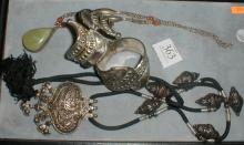 EASTERN STYLE JEWELRY, NECKLACES, AND PAIR OF HINGED BANGLES