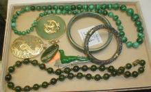 ASIAN JEWELRY: STONE BEAD NECKLACES, CHINESE PENDANTS, ALASKAN PIN, AND TWO BANGLES