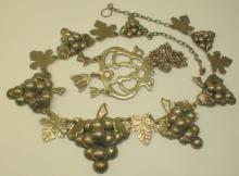 STERLING JEWELRY: PENDANT ON CHAIN, MEXICAN GRAPE THEME NECKLACE