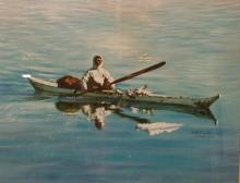 PAINTING ON CANVAS BOARD OF AN ALASKAN NATIVE IN KAYAK. SIGNED