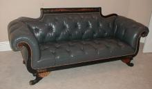 OLD HICKORY TANNERY LEATHER DUNCAN SUPREME SOFA. 7'3
