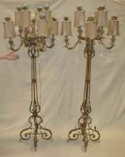 PAIR OF CONTEMPORARY METAL ACANTHUS THEME EIGHT ARM FLOOR LAMPS. 6'6