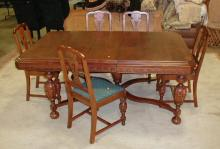 DINING TABLE AND FIVE CHAIRS, MATCHING LOT 163