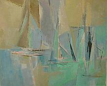 MODERNIST PAINTING ON CANVAS BOARD OF SAIL BOATS. LARGE SIGNATURE ON BACK