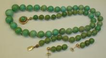 BLUE STONE BEAD NECKLACE AND EARRING SET WITH 14K CLASPS