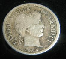 1896-S BARBER DIME. KEY DATE APPROXIMATE GRADE G
