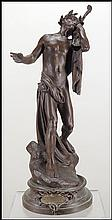 PATINATED METAL FIGURE OF ORPHEUS.