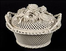 BELLEEK ROUND PORCELAIN BASKET WITH LID.