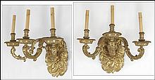 PAIR OF GILT BRONZE THREE-LIGHT WALL SCONCES.