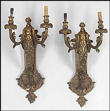 PAIR OF PATINATED BRONZE TWO-LIGHT FIGURAL WALL SCONCES.