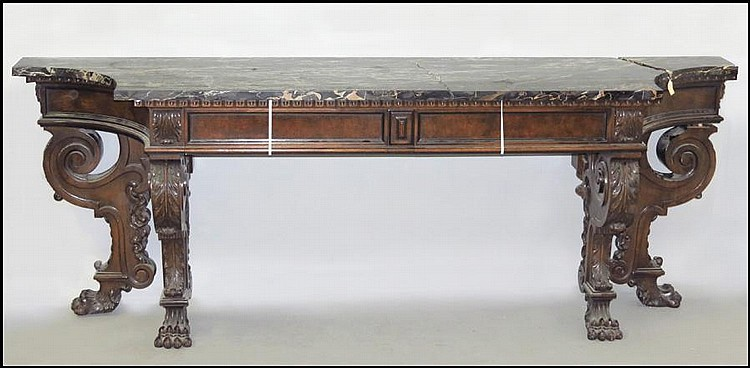 CONTINENTAL MARBLE TOP CONSOLE TABLE.