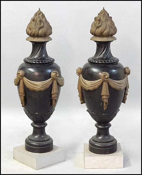 PAIR OF FRENCH PAINTED CAST IRON GARDEN ORNAMENTS.
