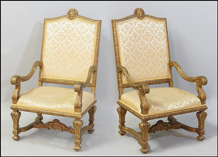 PAIR OF LOUIS XIV STYLE GESSO AND GILTWOOD OPEN ARMCHAIRS.