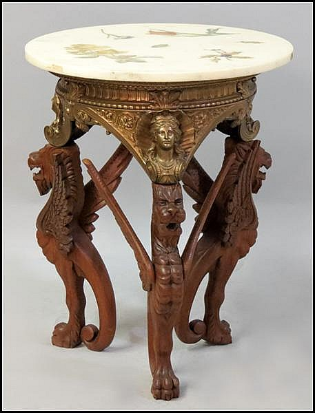 EMPIRE STYLE MARBLE TOP SIDE TABLE.