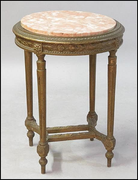 FRENCH GILTWOOD ROUND TABLE.