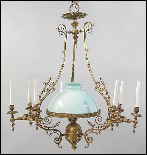 BRASS TEN-LIGHT CHANDELIER.