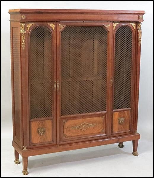 EMPIRE STYLE BRONZE MOUNTED MAHOGANY BOOKCASE.