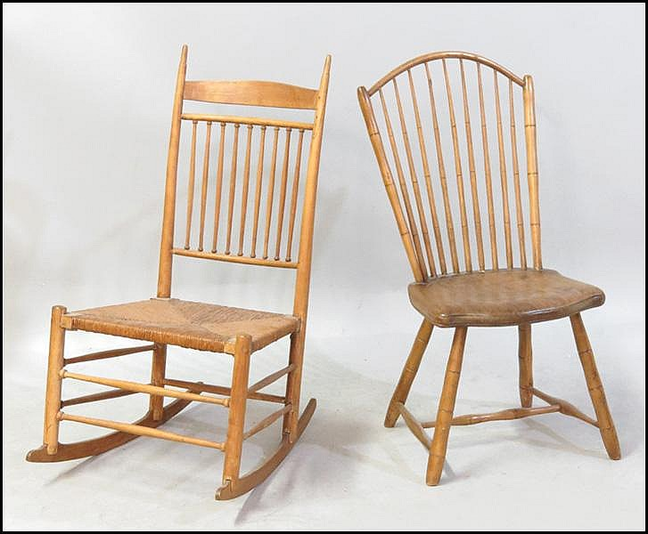 WINDSOR STYLE ROCKING CHAIR.