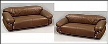 PAIR OF GIANFRANCO FRATTINI LEATHER SESANN SOFAS.