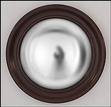 CONTEMPORARY MAHOGANY CONVEX MIRROR.