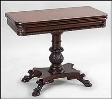 MAHOGANY FLIP TOP GAMES TABLE.