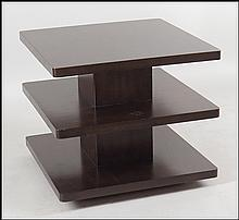 BARBARA BARRY MAHOGANY OCCASIONAL TABLE IN THE JAVA FINISH.