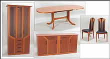 GERMAN CHERRY WOOD DINING SUITE.
